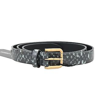 Dolce & Gabbana Black White Pattern Leather Gold Buckle Belt