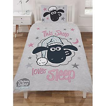 Shaun die Schafe Liebe Schlaf einzelne Bettdecke Cover Set