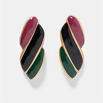 Exotische oorbel in zwart, groen en rood