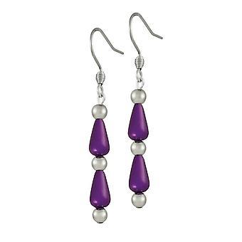 Eternal Collection Eureka Purple Lucite Silver Tone Drop Pierced Earrings