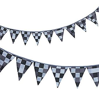 Ready Steady Bed� Fabric Bunting Flags Banner | Printed Polycotton Party and Bedroom Decoration for Kids | Birthday Bunting for Girls or Boys | 3 Metres (Pixels Grey)