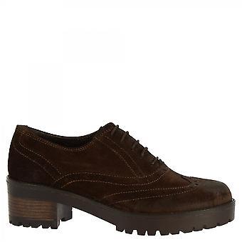 Leonardo Shoes Women-apos;s chaussures faites à la main oxford chaussures cuir daim brun foncé