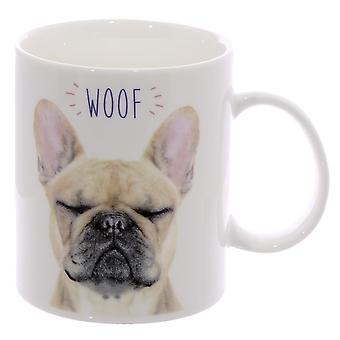 Franz÷sbulldog cup Frenchie WOOF wit, bedrukt, 100% porselein, in cadeauverpakking.