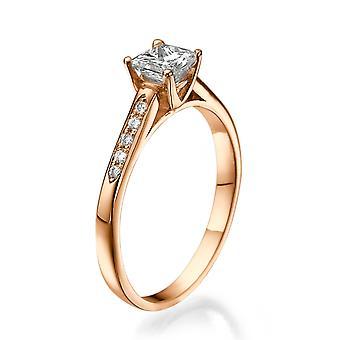1/2 Karat G SI1 Diamant Verlobungsring 14k Rose Gold Princess Cut Vintage Ring Promise Ring