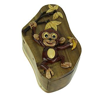 Hand Crafted Wood 3D Monkey Puzzle Trinket Box