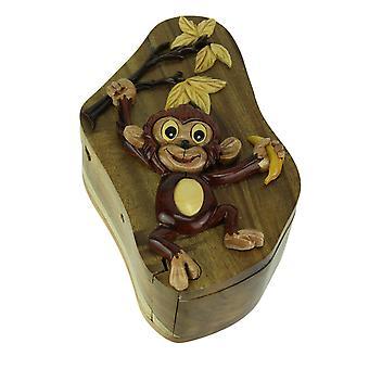 Käsi työnä puu 3D Monkey Puzzle Trinket laatikko