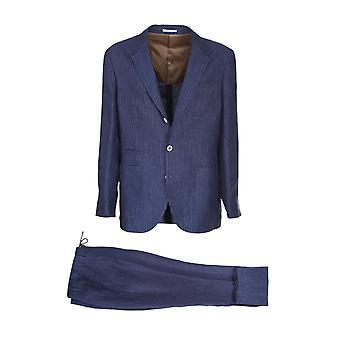 Brunello Cucinelli Mw432ldn6c0003 Men's Blue Linen Suit