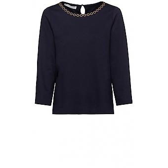 Bianca Navy Chain Detailed Top