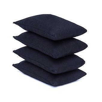 4 paquet de sacs de haricots en tissu de coton noir pour le sport, PE, école, Jeux de capture, Sensory, Jonglerie