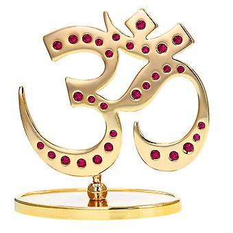 24K Gold Plated Om Crystal Ornament made with Swarovski crystals Gift Boxed Keepsake Figurine Gift Celebrations Special Occasions Hinduism Religious Figurine