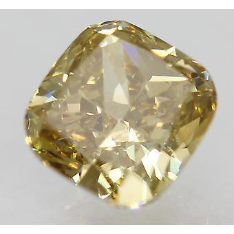 Cert 1.21 Carat Brown Yellow VVS2 Cushion Natural Loose Diamond 6.18x5.87mm