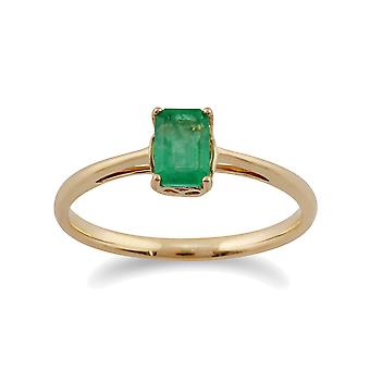 Classic Rectangle Emerald Ring in 9ct Yellow Gold 135R1312019