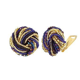 Eternal Collection Opulenza Sapphire Blue And Gold Venetian Murano Glass Torsade Stud Clip On Earrings