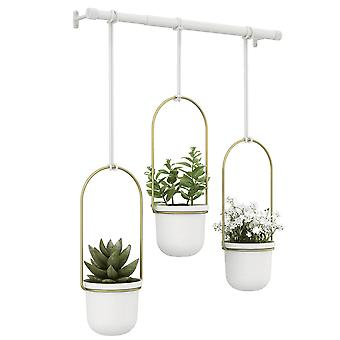 Umbra Triflora Hanging Planter White Brass