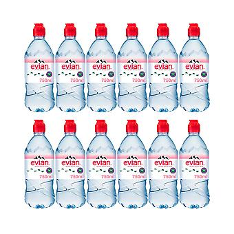 12 x 750ml Evian Sports Natural Still Mineral Water Bottle Hydrate Calcium