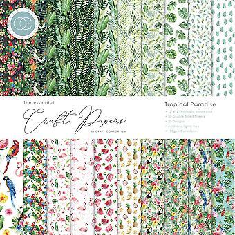 Craft Consortium Essential Craft Papers 12x12 Tommer Papir Pad Tropisk Paradise
