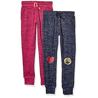 Marque - Spotted Zebra Girl-apos;s 2-Pack Cozy Knit Joggers, Emoji/Pink, X-S...