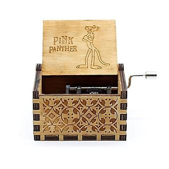 Pink Panther Hand Cranked Collectible Engraved Wooden Music Box