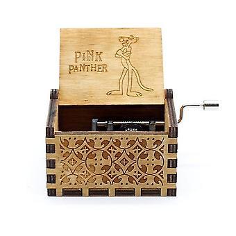 Rosa Panter Hand Cranked Collectible Graverad Trä Music Box
