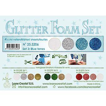 Leane Creatief Glitter Foam A4 Set 3 Blue Tones