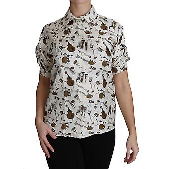 Dolce & Gabbana Valkoinen soitin Print Polo Top Shirt