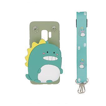 3D mobile Tasche eingebaute Brieftasche für Samsung Galaxy S9 - Dinosaurier, grün