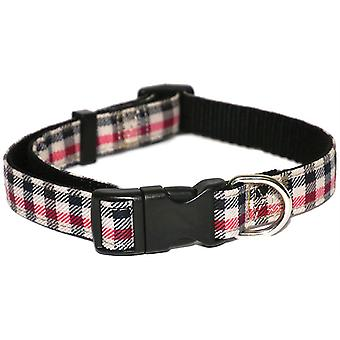 Wag N Walk Check Nylon Collar - Red - 1 inch x 18-28 inch