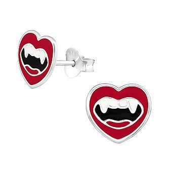 Children's Sterling Silver Vampire Mouth Stud Earrings