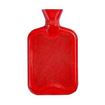 Hot Water Bottle - Classic Short Ribbed Rubber Bottle with Screw Stopper - 2 Litres - Red