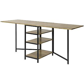 SoBuy FWT62-N, Modern Industrial Design Folding Dining Table with 3 Shelves