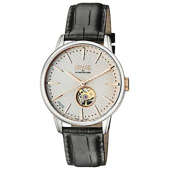 Gevril Men's 9601 Mulberry Automatic Silver Dial Black Leather Wristwatch