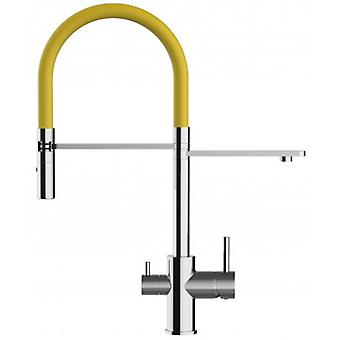 3 Way Kitchen Filter Sink Mixer With Yellow Spring Spout And 2 Jet Spray, Works With All Water Filter System - 136