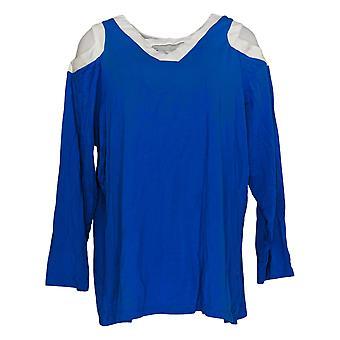 Belle By Kim Gravel Women's Top Long Sleeve V Neck Blue A301604