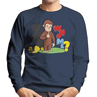 Curieux George Broken Flower Pot Who Me Men's Sweatshirt