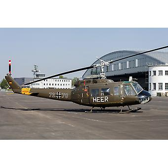UH-1D Huey of the German Army in the old camoflauge from the 1970s Fritzlar Air Base Germany Poster Print