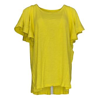 DG2 por Diane Gilman Women's Plus Top Yellow Tunic Flutter Sleeve 718-519