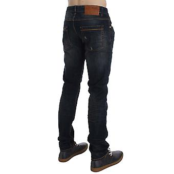 Acht Blue Wash Cotton Stretch Slim Skinny Fit Distressed Jeans