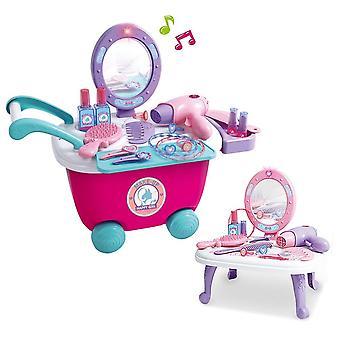Barn make up set 2-i-1 fåfänga toalettbord spela som i bärbara fall prinsessa jul födelsedag