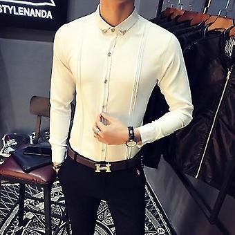 Men's Formal Shirt, Slim Fit Tuxedo Shirts, Long Sleeve, Casual Camisa
