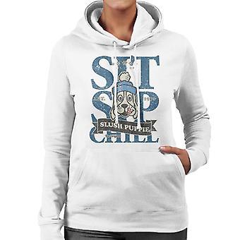 Slush Puppie Distressed Sit Sip Chill Women's Hooded Sweatshirt