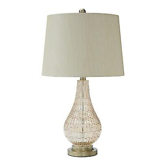 Lámpara de mesa de vidrio bellied con sombra de tambor de tela, beige y transparente