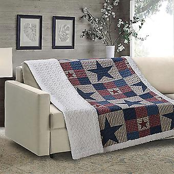 Spura Home Mountain Cabin Gray Patchwork Quilted Sherpa Throw Blanket sofa Bed