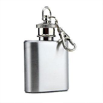 1oz mini lomme rustfritt stål vinflaske whisky brennevin hip kolbe skrue cap nøkkelring vin flagon