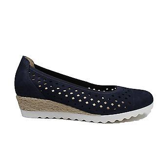 Gabor Evelyn 642-36 Blue Nubuck Cuero Mujer Resbalón En Zapatos de Bomba Ballet