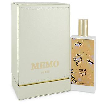 Jannat Eau De Parfum Spray (Unisex) By Memo 2.53 oz Eau De Parfum Spray