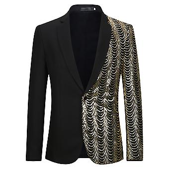 YANGFAN Men's Laquins Suit Jacket Notched Lapel Stylish Blazer