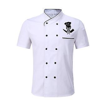 Funny Skull Print Chef Uniform Kitchen Bakery Cafe Ruokapalvelu Lyhyt Takki