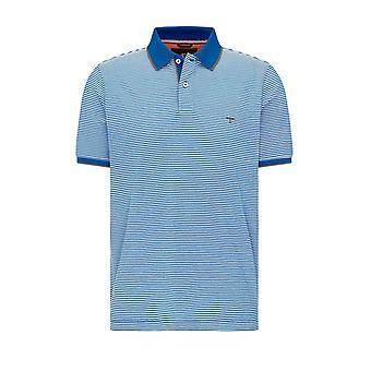 Fynch-Hatton Fynch-hatton Fine Stipe Maritime Polo Shirt Royal/white