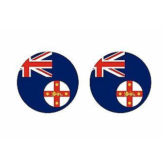 2x sticker sticker round cocarde flag australia new south wales