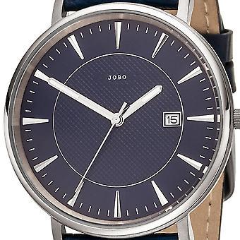JOBO Watch Homme Quartz Analog Titanium Leather Strap Blue Date Homme Watch